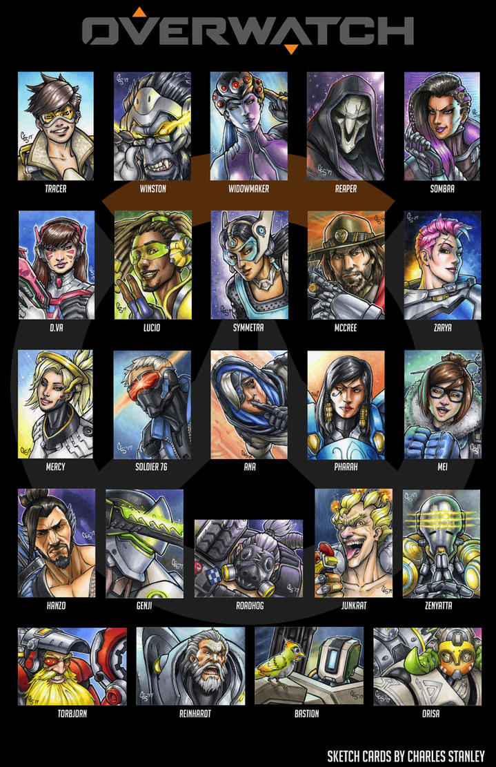 Overwatch Sketch Cards by Khilleus