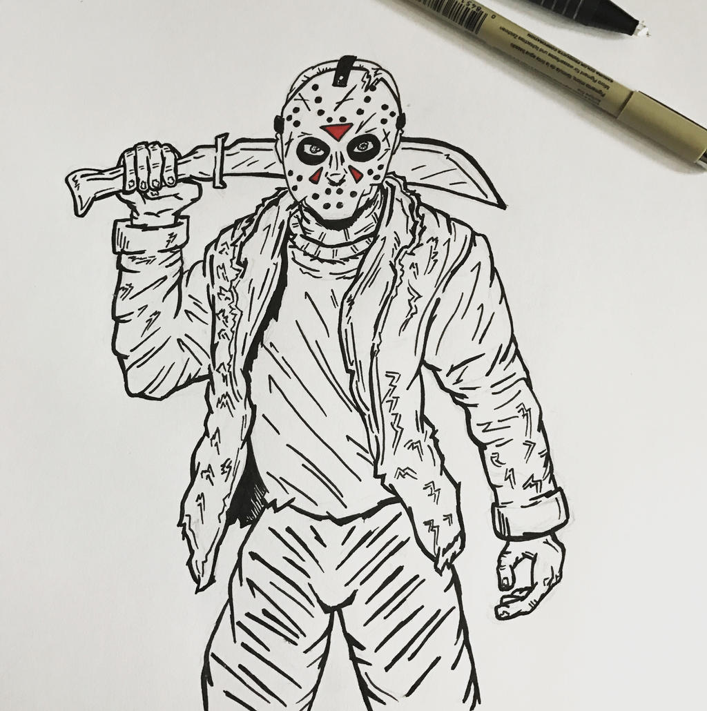 Inktober 2016, Day 1 - Jason Vorhees by EricAndersonCreative