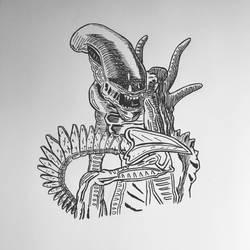Inktober 2016, Day 6 - Alien