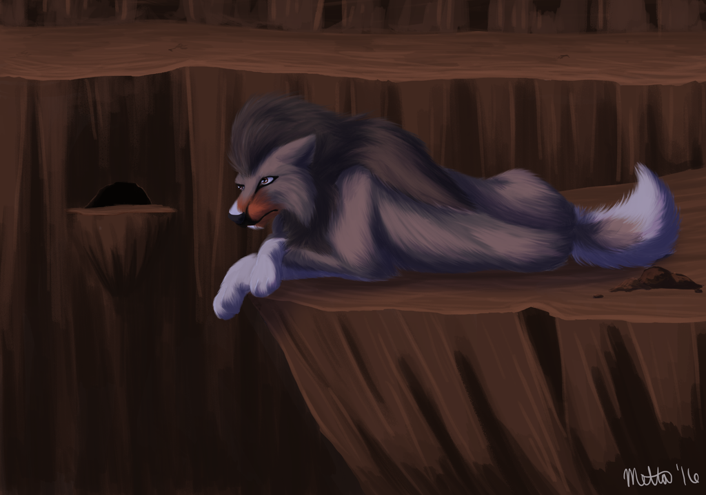 Relaxing in a cave: Raffle prize for MuddChi by Bimisi