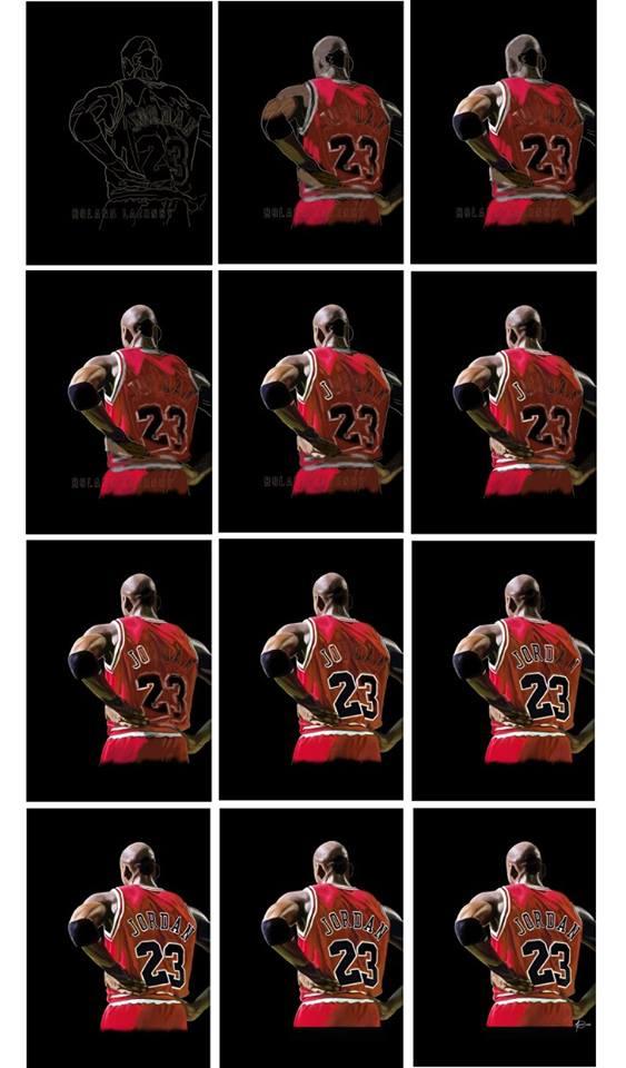 Michael Jordan - Commissioned portrait WIP by al-turnertive