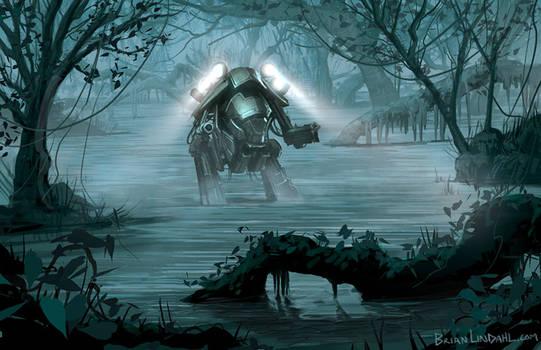 Science Fiction Swamp Frog Mech Artwork