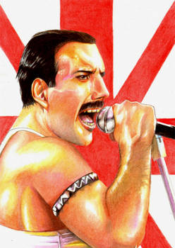 Freddie-Mercury colored pencils illustration