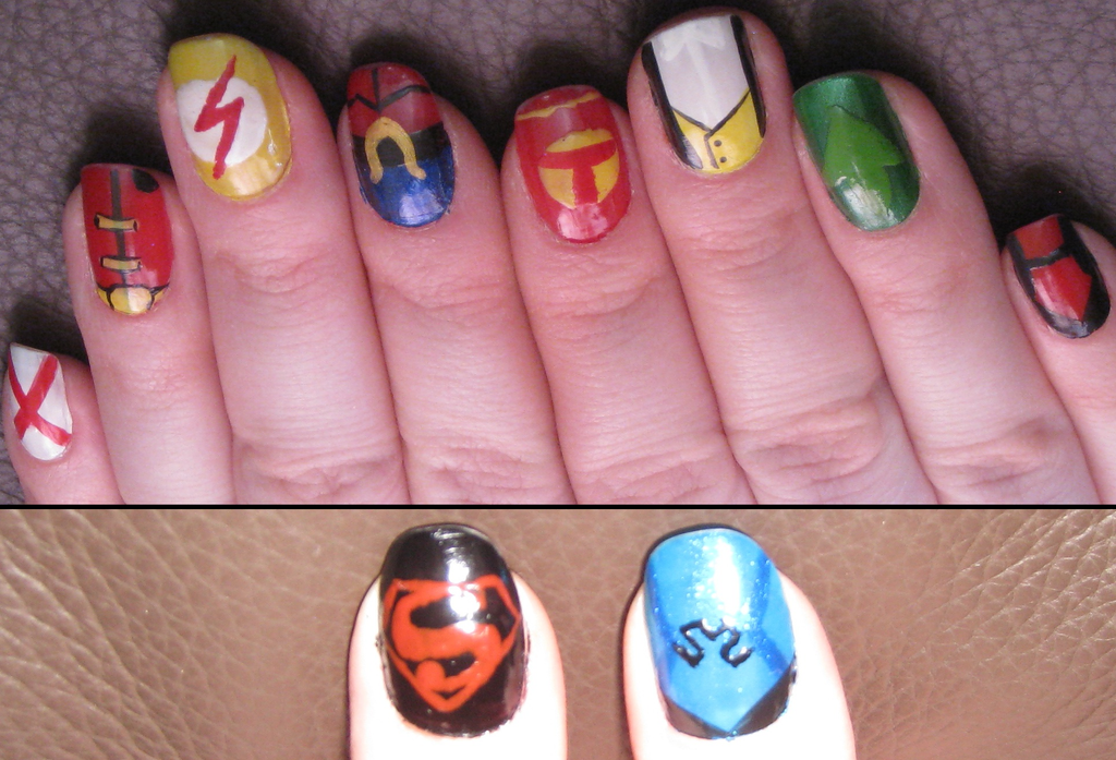 Young Justice Nail art by puppy-lou on DeviantArt