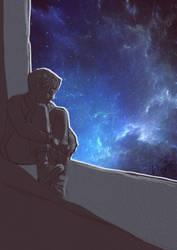 little boy in deep space