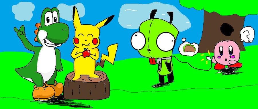 yoshi pikachu gir and kirby by dxa18 on DeviantArt
