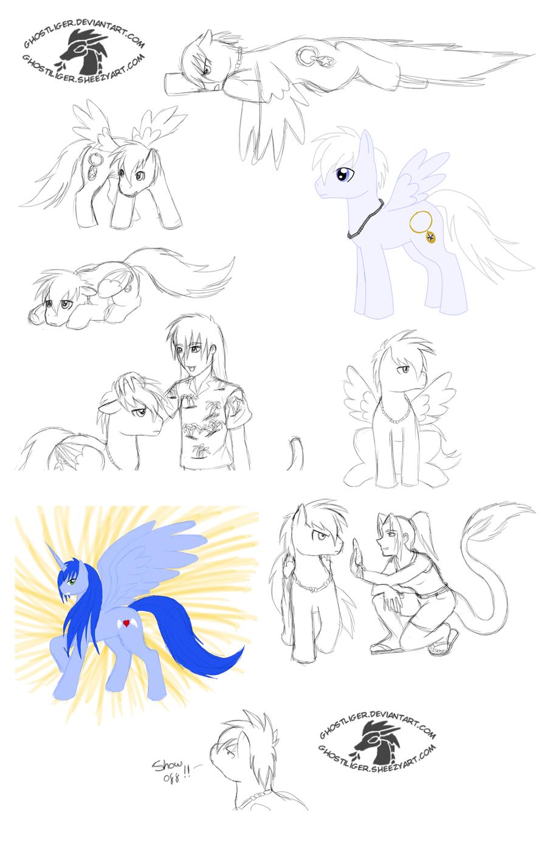 Shadow pony sketch dump by GhostLiger
