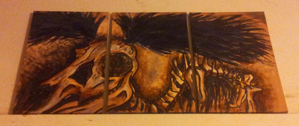 Triptyque: Cerf squelette by khajiit4444