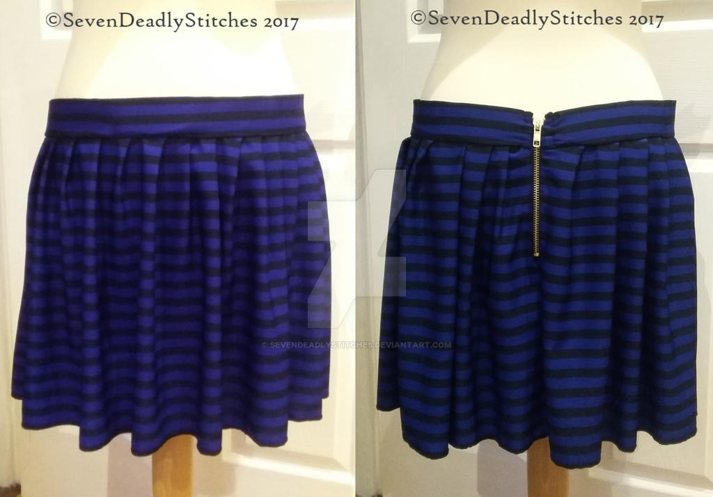 blue and black striped skirt with gold zip by