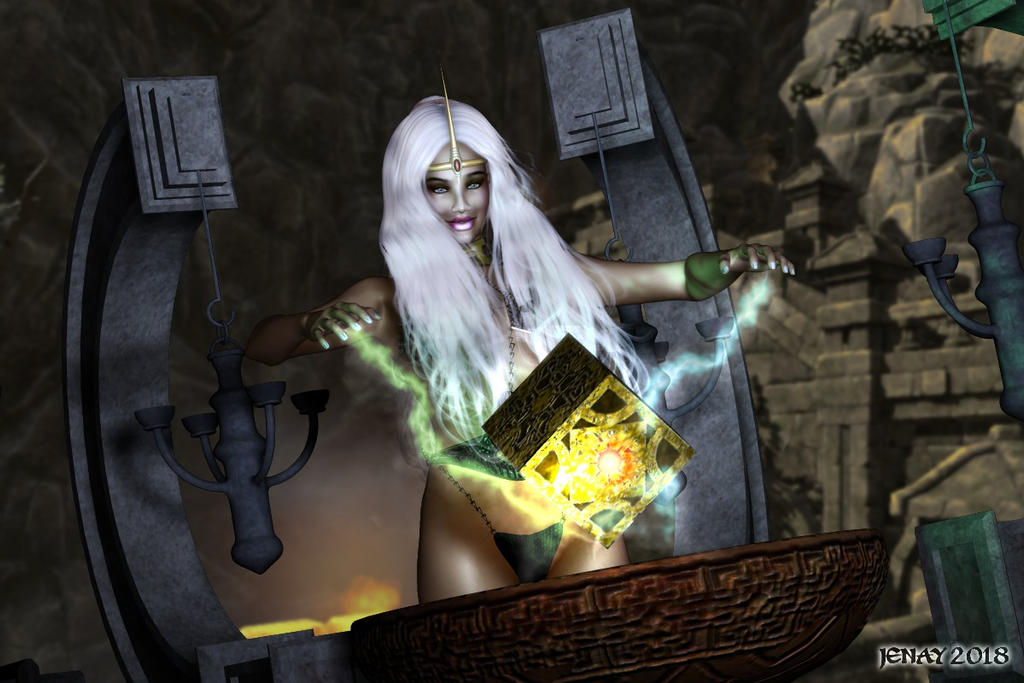 Sorceress with Cube by akanay
