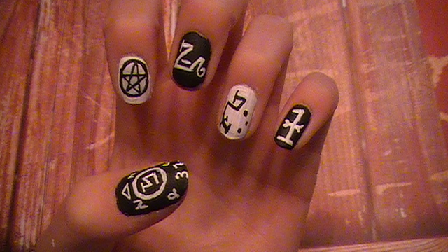 Supernatural inspired nail art by fiercenfabulous on deviantart supernatural inspired nail art by fiercenfabulous prinsesfo Image collections