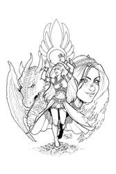 Chronicles of Lorenai - cover Line Art by Mariey