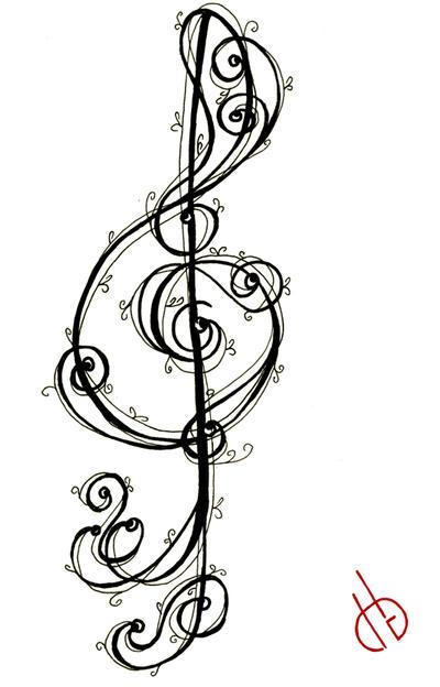 treble g clef tattoo by di gon on deviantart. Black Bedroom Furniture Sets. Home Design Ideas