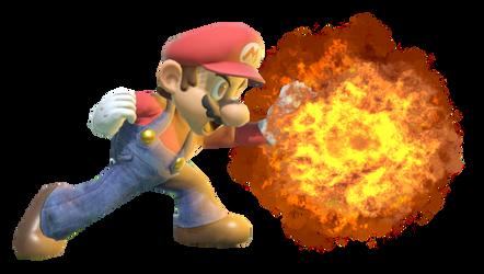 Super Mario creating an explosion