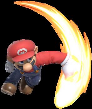 Super Mario striking downwards