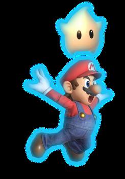 Super Mario falling with Luma
