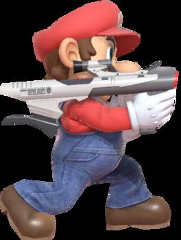 Super Mario aiming a Super Scope