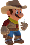 Cowboy Mario with a glass of milk
