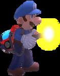 Scarescraper Blue Luigi preparing to use Strob