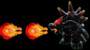 Fury Bowser spewing fireballs