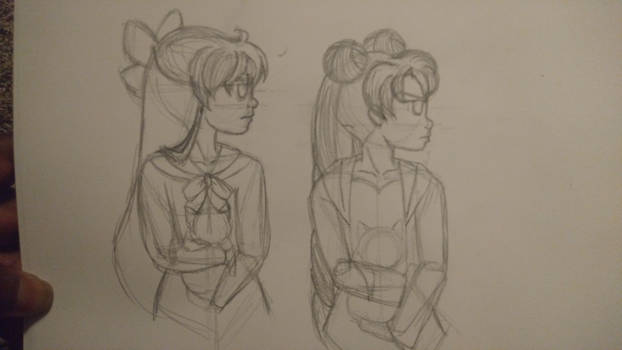 Sailor Moon - Usagi, Minako, Artemis, and Luna-wip