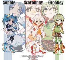 gijinka: sobble scorbunny grookey (closed) by amepan
