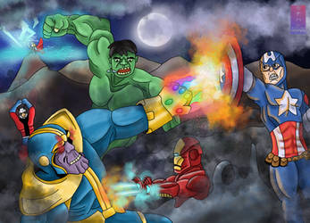 Avengers Vs Thanos by nmonag