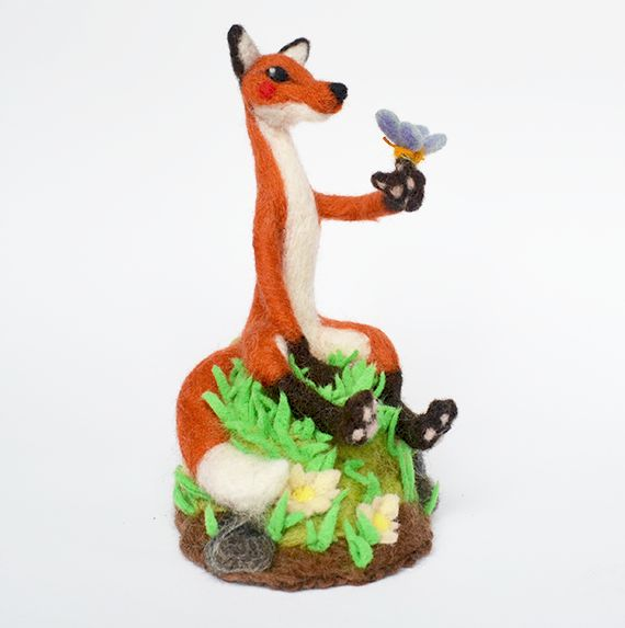 Needle Felted Fox on a Hill by falauke