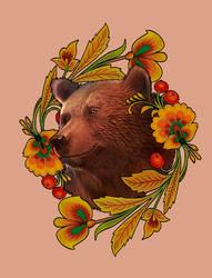 Tatu. Bear and  khokhloma painting