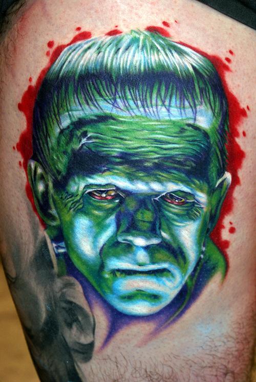 Los mejores tattoos a todo color Frankenstien_by_tat2istcecil