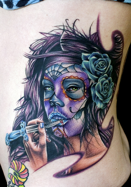 Los mejores tattoos a todo color Day_of_dead_girl_by_tat2istcecil