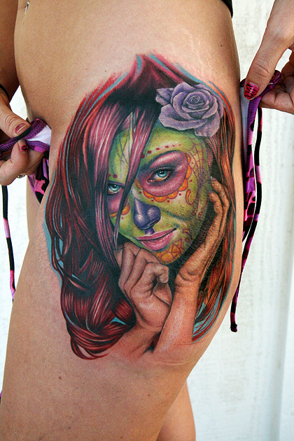 Los mejores tattoos a todo color Green_day_of_the_dead_girl_by_tat2istcecil-d2zknez