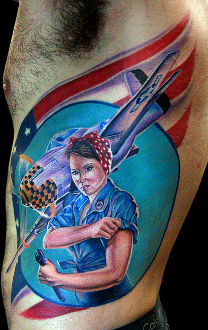 rosie the riveter - dragonfly tattoo