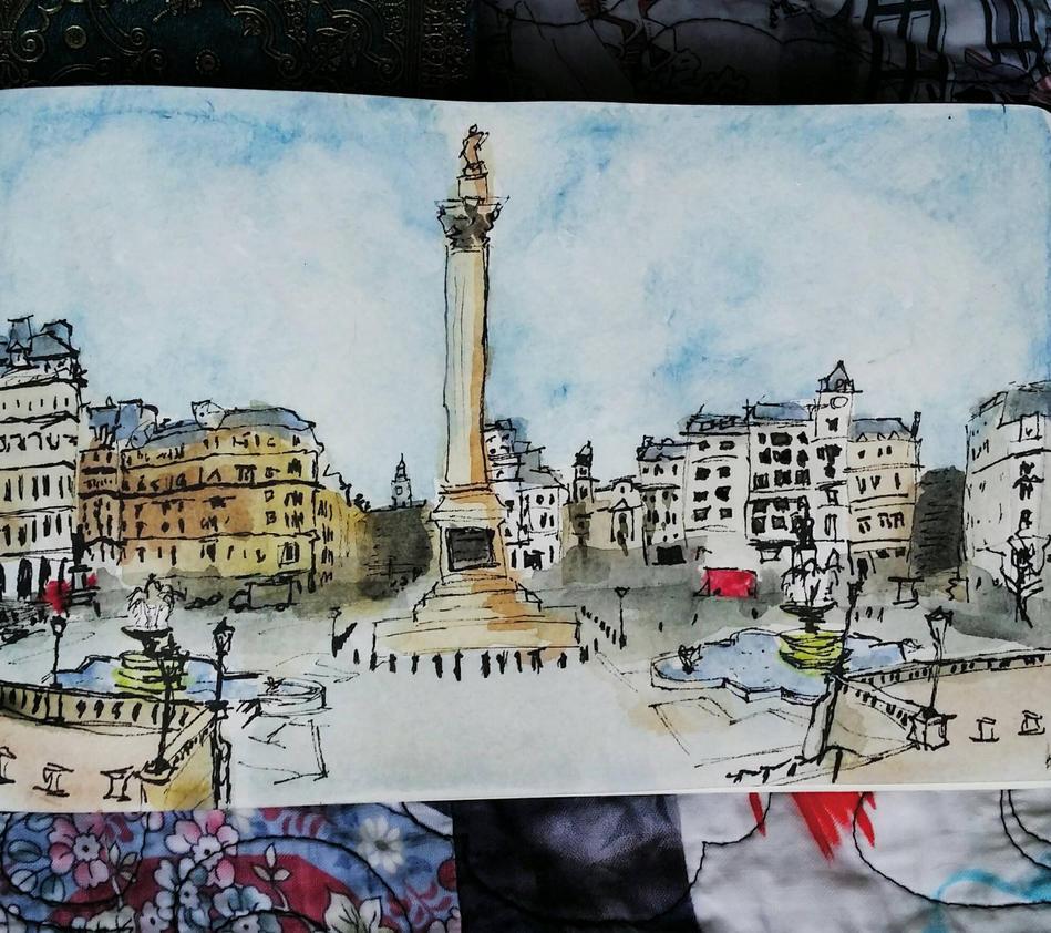 Trafalgar Square Urban Sketch by Bohomouse