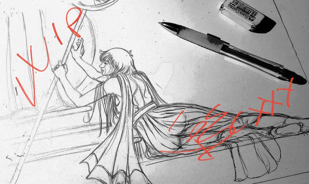 Saori Kido, Saint Seiya: Saori's lament (sketch) by SALLYandME