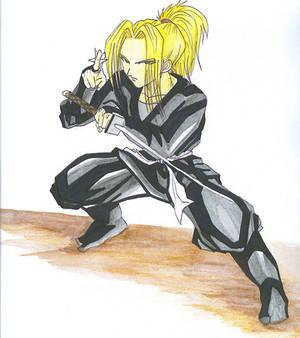 me wearing my ninja suit