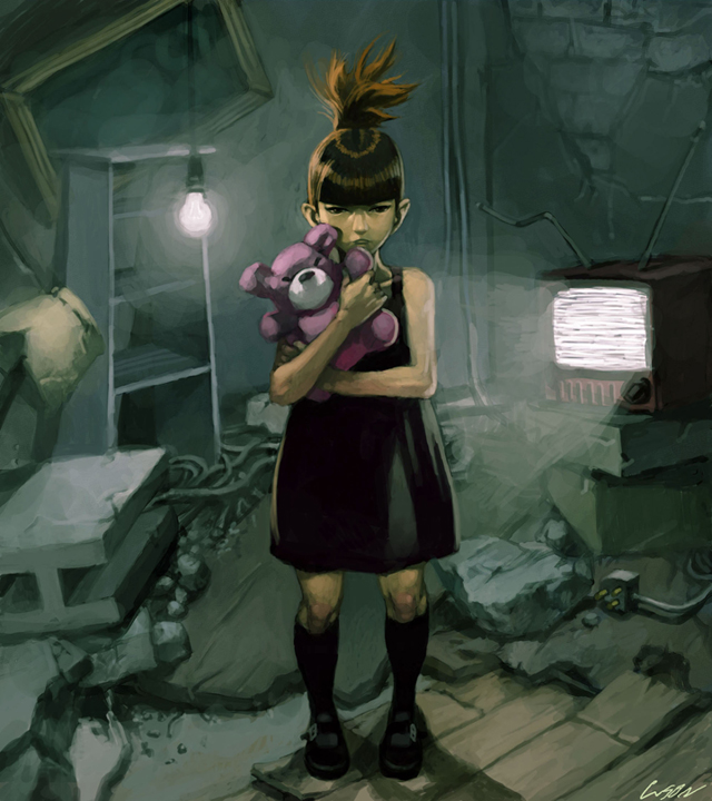 girl with teddy bear by cuson on DeviantArt