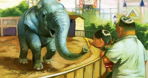 mui chan feeds elephant by cuson