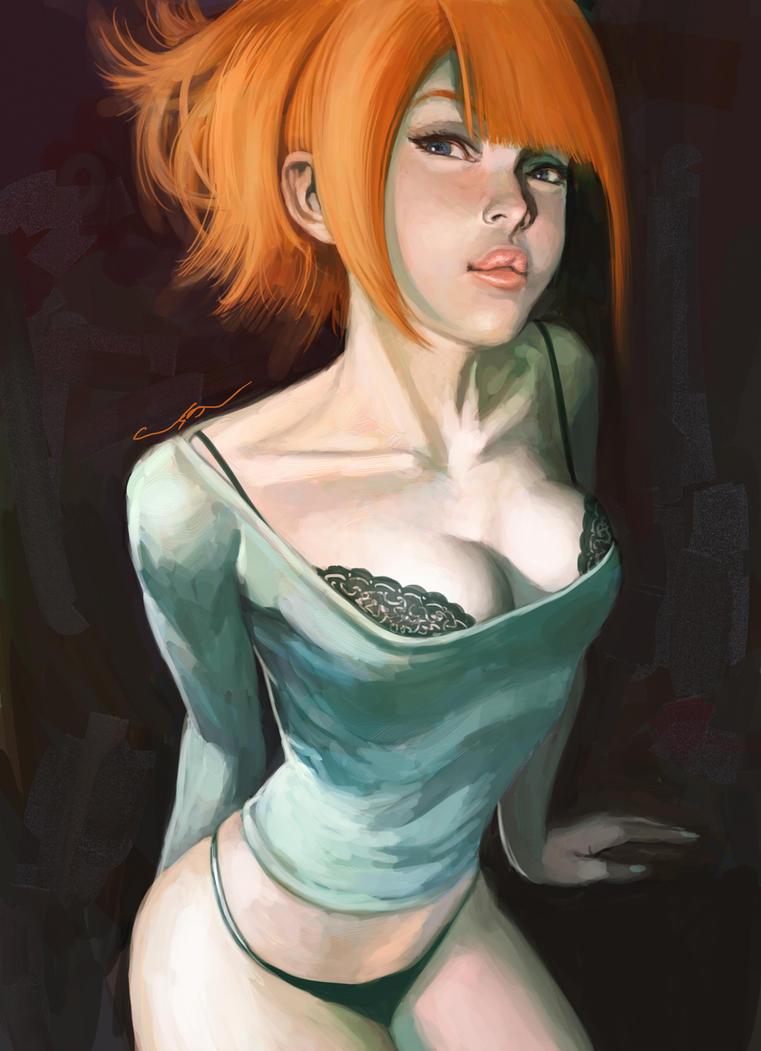 woman with orange hair by cuson