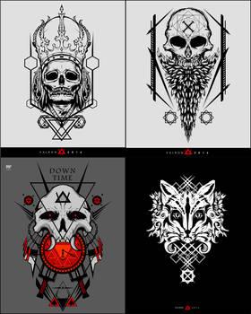 skulls and fox
