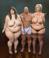 BBW_ Mature Trio_02 by Rendermojo