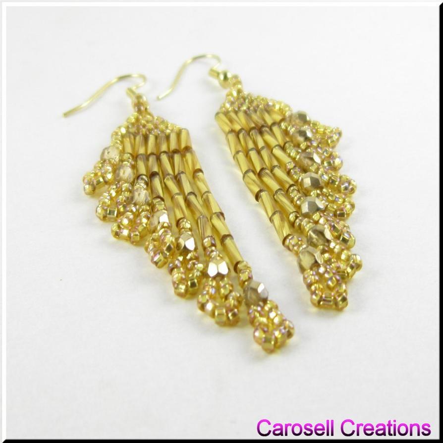 ripples delight dangle seed bead earrings by