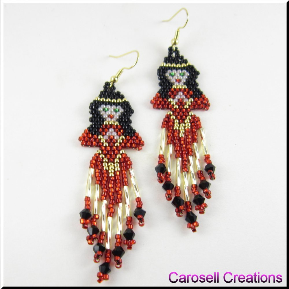 indian princess american seed bead earrings by