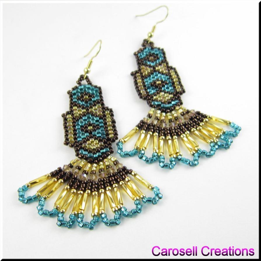 bronze beauty native american seed bead earrings by carosellcreations
