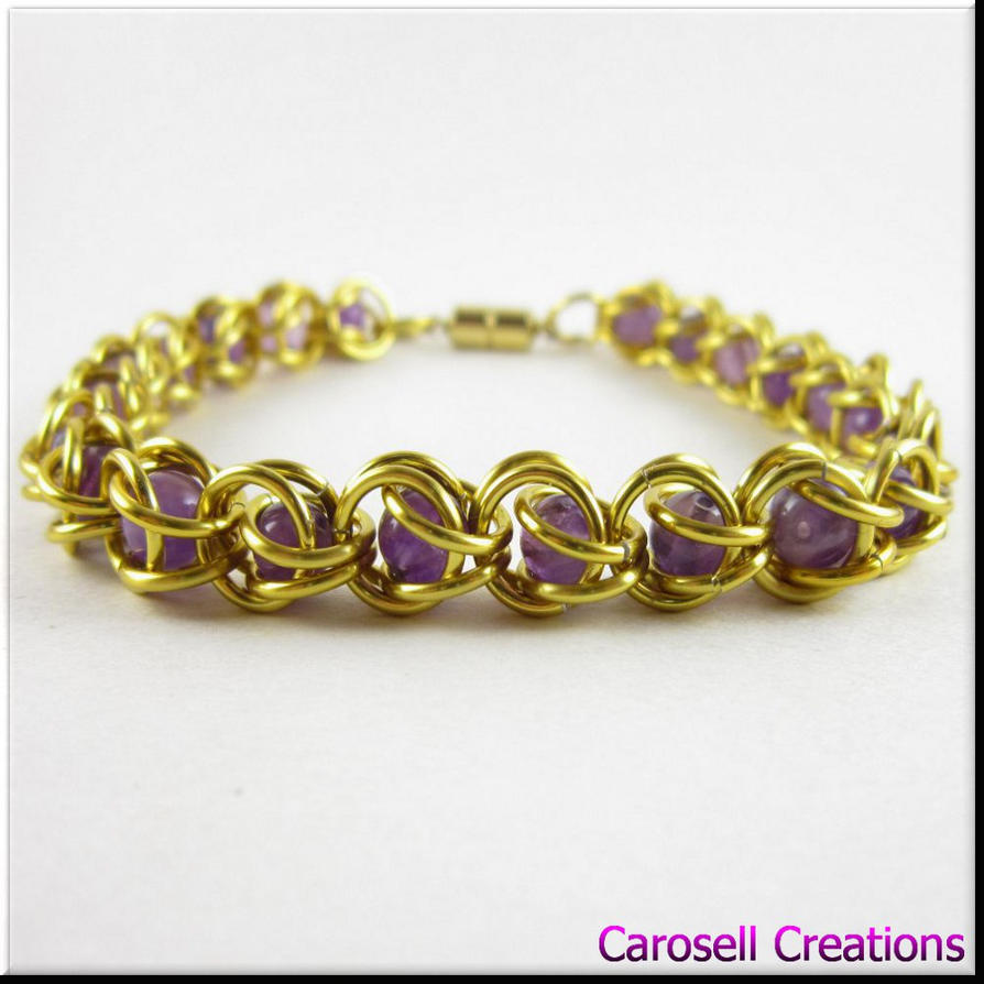 captured bead chain maille bracelet gold amethyst by