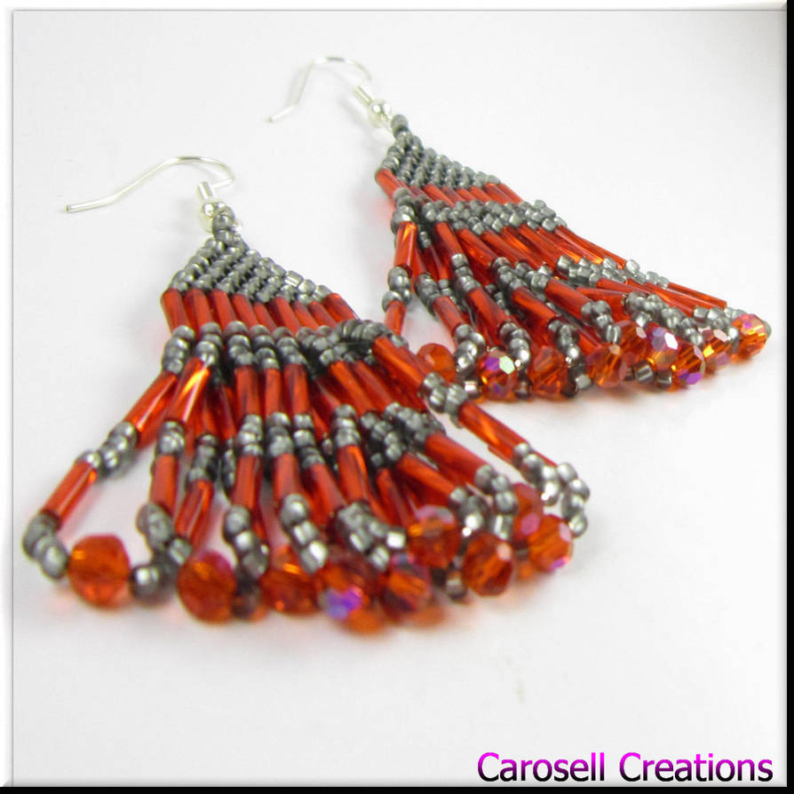 233143682 Native American Style Red Gray Seed Bead Earrings by carosellcreations ...