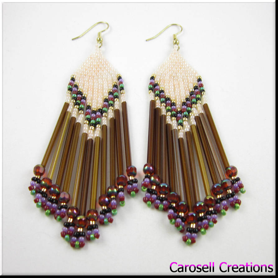 901508bc0 Native American Style Brown Seed Bead Earrings by carosellcreations ...
