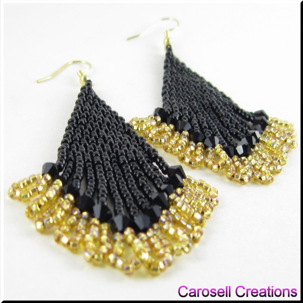 Carocreations Handmade Black Gold Seed Beaded Earrings By