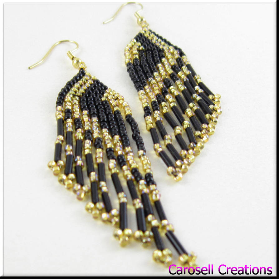 Long Fringe Black Gold Seed Bead Earrings By Carocreations