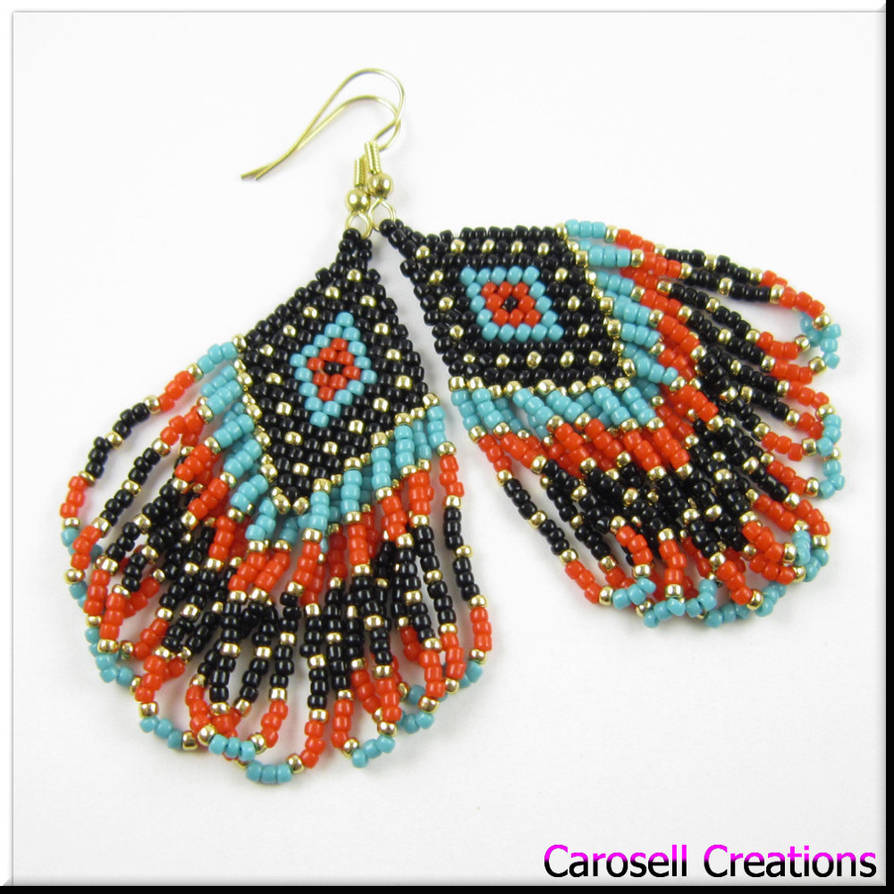 190333d88 Native American Style Diamond Seed Bead Earrings by carosellcreations ...